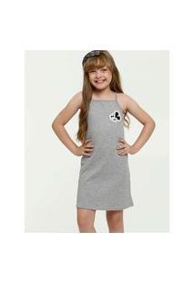 Vestido Infantil Canelado Mickey Alças Finas Disney