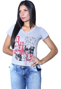Camiseta Heide Ribeiro Estampada Love Cinza Mescla - Multicolorido - Feminino - Dafiti