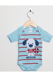 Body Bebê Manga Curta Menino Azul Claro Cachorrinho
