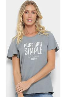 Camiseta Colcci Pure And Simple Feminina - Feminino-Cinza