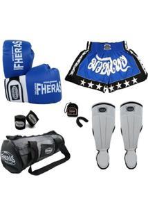 Kit Muay Thai Orion -Luva Bandagem Bucal Caneleira Bolsa Shorts-08 Oz - Unissex