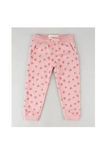 Calça Infantil Básica Estampada De Corações Em Moletom Felpado Com Bolsos Rosa