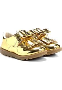 Sapato Klassipé Infantil - Feminino-Dourado+Bege