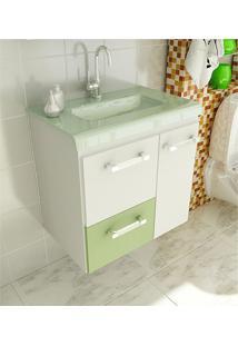 Gabinete Para Banheiro 60 Cm Com 2 Peças Vetro 13 Branco E Verde Tomdo