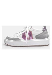 Sneaker Smidt Diamond - White, Titânio, Metalizado Rosa Cinza