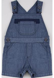 Jardineira Jeans Infantil Com Bolso Azul Escuro