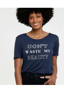 Camiseta Estampa Frontal Marisa Manga Curta Feminina - Feminino-Azul