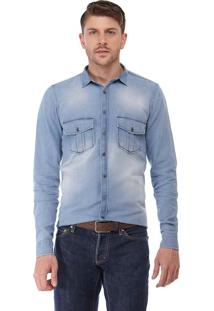 Camisa Slim Zaiko Jeans Manga Longa 1919 Azul