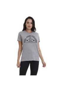 Camiseta Jay Jay Basica Feel Your Feelings Cinza Mescla Dtg