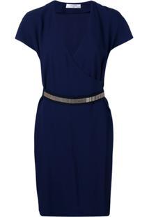 Lanvin Vestido Envelope Com Detalhe Metálico - Azul