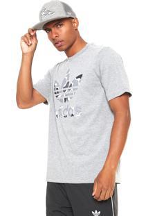 f23f476cb00c2 Camiseta Adidas Originals Camo Trefoil Cinza