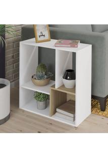 Estante Para Livros Lift 1 Prateleira Branco/Carvalho - Artely