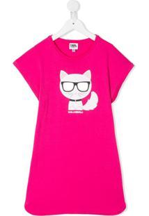 Karl Lagerfeld Kids Vestido Reto Choupette - Rosa