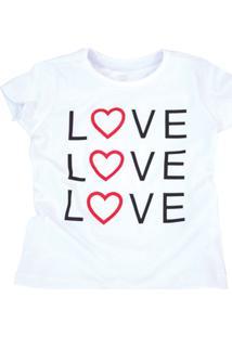 Camiseta Doll Up Love Manga Curta Menina Branca