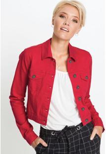 Jaqueta De Sarja Cropped Vermelha