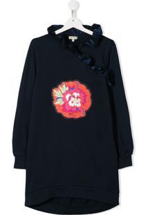 Kenzo Kids Vestido Com Patch Floral E Babados - Azul