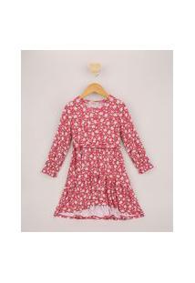 Vestido Infantil Tal Mãe Tal Filha Midi Estampado Floral Com Faixa Para Amarrar Manga Longa Rosa
