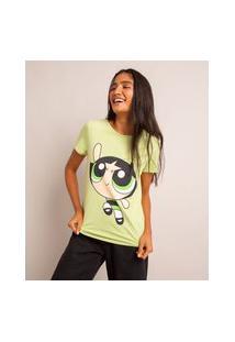 Camiseta De Algodão Estampada Docinho Manga Curta Decote Redondo Verde Claro