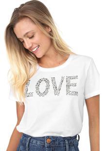 Camiseta Enfim Aplicações Branca