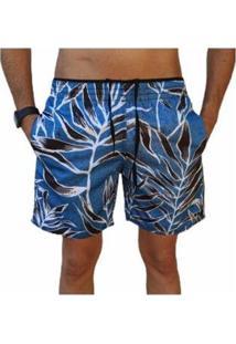 Bermuda Short Moda Praia Estampados Relaxado Masculina - Masculino-Azul