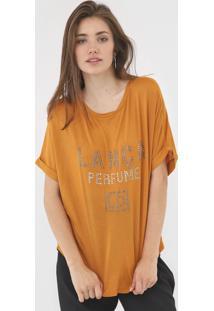 Camiseta Lanã§A Perfume Aplicaã§Ãµes Amarela - Amarelo - Feminino - Viscose - Dafiti