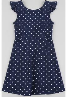 Vestido Infantil Estampado De Coração Com Babado E Nó Sem Manga Azul Marinho