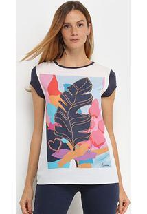 Camiseta T-Shirt Carmim Folhagem Feminina - Feminino-Marinho