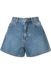Msgm Short Jeans Com Estampa - Azul
