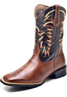 Bota Texana Fak Boots Cano Longo Bordado Marrom