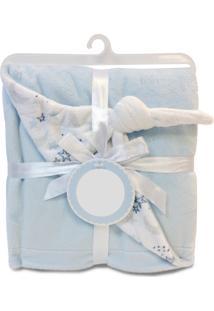 Manta De Microfibra Piccolo Bambino Dupla Face Para Bebê Naninha Azul
