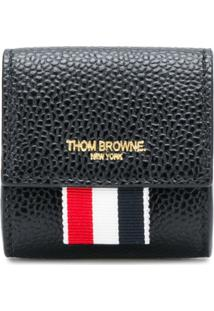 Thom Browne Porta Moeda De Couro - Preto