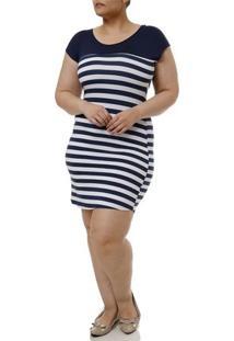 Vestido Curto Plus Size Feminino Azul Marinho