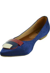Sapatilha Lelive Calçados Verniz Fivela Geométrica Azul Marinho