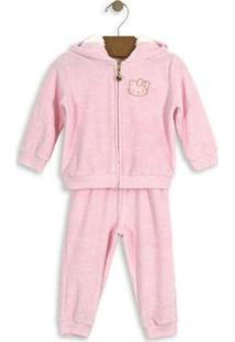 Conjunto Jaqueta E Calça Bebê Plush Hello Kitty Feminino - Feminino-Rosa