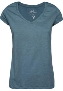 Camiseta Khelf Manga Curta Decote V Azul