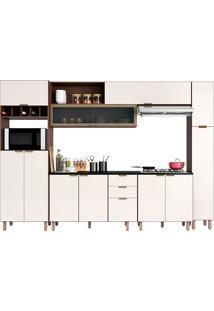 Cozinha Completa 11 Portas E 3 Gavetas Flair-Poliman - Nogueira / Of White