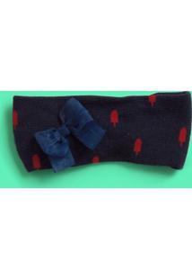 Faixa De Cabelo Com Laã§O- Azul Marinho & Vermelha- 3Puket