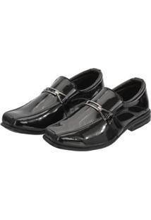 Sapato Social Leoppé Verniz C/ Elástico Infantil - Masculino-Preto