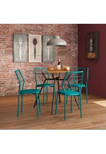 Conjunto De Mesa 1527 Vidro Incolor Preto Com 4 Cadeiras 1716 Casual Turquesa