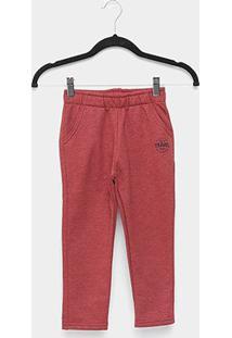 Calça Moletom Infantil Kyly Peluciado Básica - Masculino-Vermelho
