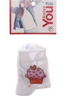 Meia Infantil Cupcake - Feminino-Branco