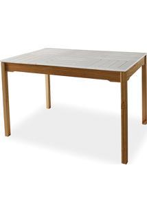 Mesa Para Sala De Jantar Compacta De Madeira Maciça Taeda Com Tampo Colorido Olga Verniz Capuccino E Branco 120X80X75Cm