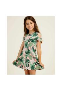 Vestido Infantil Open Shoulder Estampa Tropical Tam 4 A 10
