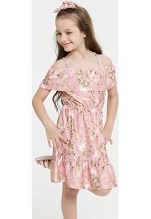 Vestido Infantil Open Shoulder Estampa Floral Brinde Marisa