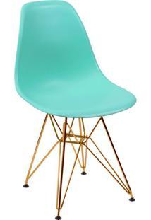 Cadeira Eames Eiffel Com Base Metal Azul