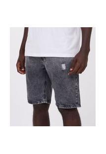 Bermuda Marmorizada Destroyed Em Jeans | Blue Steel | Preto | 42
