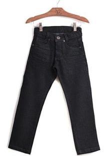 Calça Jokenpô Infantil Jeans Dark - Masculino-Preto