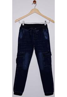 Calça Jeans Jogger Cargo Juvenil Para Menino - Azul