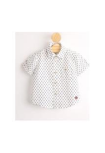Camisa Infantil De Algodão Mini Print Raios Manga Curta Off White