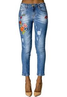 Calça Jeans Com Bordado Alphorria Feminina - Feminino-Azul